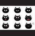 cute black cat set emotion collection happy vector image vector image