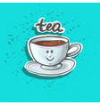 cute happy baby tea cup sticker fashion patch vector image