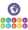 Earth globe set icons vector image vector image