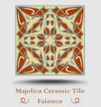 faience tile ceramic tile in beige olive green vector image vector image