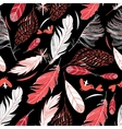 Feathers on a black background vector image vector image