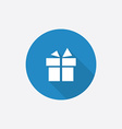 gift flat blue simple icon with long shadow vector image vector image