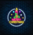 glowing neon christmas sign with holly and xmas vector image