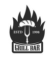 grill bar fork with sausage design element for vector image vector image