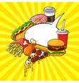 hand drawn pop art set of fast food with speech vector image vector image