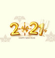 happy new 2021 year party poster template with 3d vector image vector image