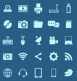 Hi tech color icons on blue background vector image