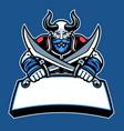 horned head fantasy warrior character crossed vector image