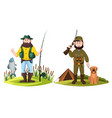 hunter and fisherman hunt man and fisher with rod vector image