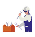 industrial worker with toolbox avatar character vector image vector image