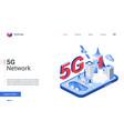 isometric 5g telecom network telecommunication vector image