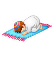 little kid prostration for praying of muslim vector image vector image