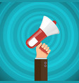 megaphone in human hand with sound waves vector image vector image