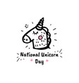 national unicorn day cartoon sketch vector image vector image