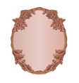 oval frame oak leaves and acorns woodcarving vector image
