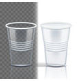 plastic cup transparent graphic brand vector image