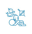 playing with the child linear icon concept vector image vector image
