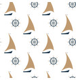 sailing ship and steering wheel seamless pattern vector image vector image