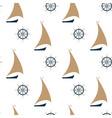 sailing ship and steering wheel seamless pattern vector image