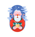 santa claus with cup coffee flat vector image