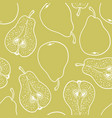 seamless pattern with ripe pears stylized hand vector image