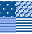 Seamless sea patterns set vector image