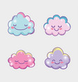 set happy fluffy clouds expression vector image
