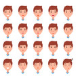 set of man faces character constructor emotions vector image