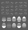 set of white isolated easter eggs on a black vector image vector image