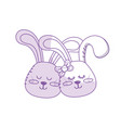 silhouette cute animal couple rabbit head together vector image vector image