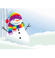 snowman in rainbow scarf vector image vector image