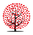 tree with red hearts vector image
