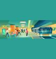 woman at metro station metropolitan platform vector image vector image