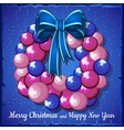 Wreath of pink Christmas balls and blue bow vector image vector image
