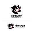 wolf fire identity wolf head in circle fire shape vector image