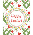 happy easter greeting card flyer poster with red vector image