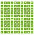 100 kids games icons set grunge green vector image vector image