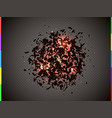 abstract explosion cloud black pieces with red vector image