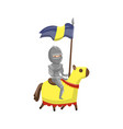 armed knight riding horse fairytale or medieval vector image