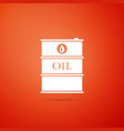 barrel oil icon isolated on orange background vector image vector image