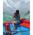 beautiful girl with long hair sitting in a boat vector image