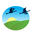 birds flying over the green fields vector image