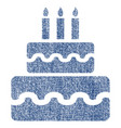 birthday cake fabric textured icon vector image