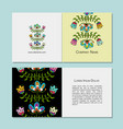 business cards design folk style floral vector image vector image