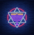 chanukah design - happy hanukkah neon sign vector image vector image