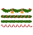 christmas holly garland vector image vector image