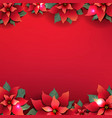 christmas poster with red poinsettia flowers vector image vector image