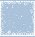 christmas snow frame isolated on blue background vector image vector image
