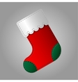 Christmas sock in red and green color vector image vector image