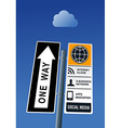 Cloud computing road post vector image vector image